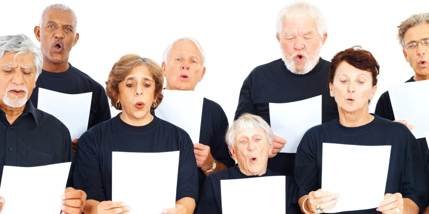 Choir group of people with notes on white